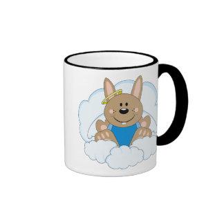 Cutelyn Brown Baby Boy Angel Bunny On Clouds Ringer Mug