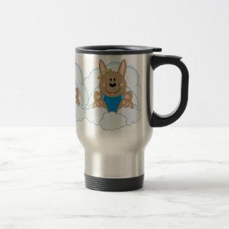 Cutelyn Brown Baby Boy Angel Bunny On Clouds Travel Mug