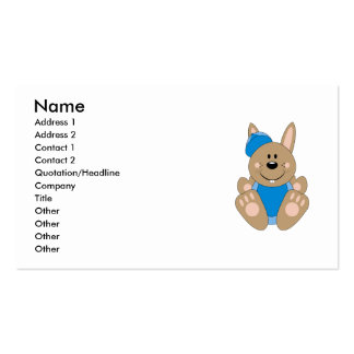 Cutelyn Brown Baby Boy Baseball Bunny Double-Sided Standard Business Cards (Pack Of 100)