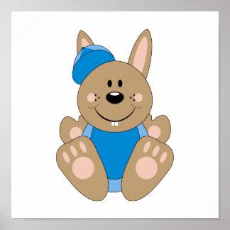 Cutelyn Brown Baby Boy Baseball Bunny Poster