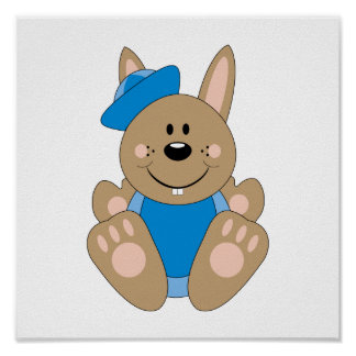Cutelyn Brown Baby Boy Sailor Bunny Poster