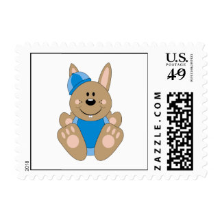 Cutelyn Brown Baby Boy Snow Bunny Postage Stamps