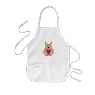 Cutelyn Brown Baby Girl Angel Bunny Kids' Apron