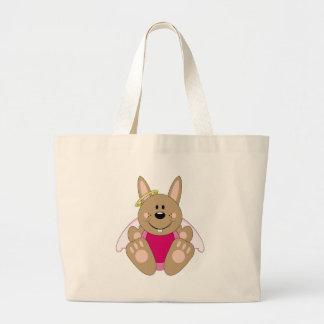 Cutelyn Brown Baby Girl Angel Bunny Large Tote Bag