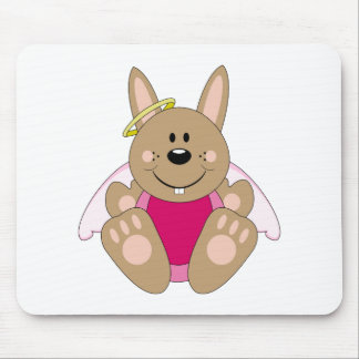 Cutelyn Brown Baby Girl Angel Bunny Mouse Pad