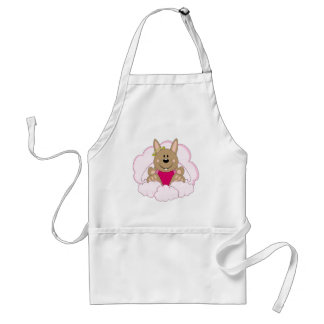 Cutelyn Brown Baby Girl Angel Bunny On Clouds Adult Apron