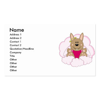 Cutelyn Brown Baby Girl Angel Bunny On Clouds Business Card Template