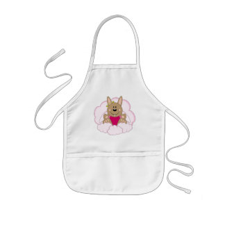 Cutelyn Brown Baby Girl Angel Bunny On Clouds Kids' Apron