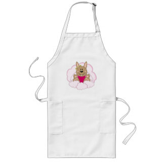 Cutelyn Brown Baby Girl Angel Bunny On Clouds Long Apron
