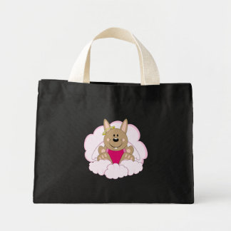 Cutelyn Brown Baby Girl Angel Bunny On Clouds Mini Tote Bag
