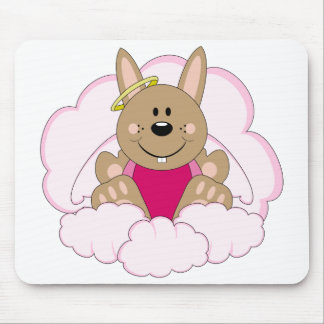 Cutelyn Brown Baby Girl Angel Bunny On Clouds Mouse Pad