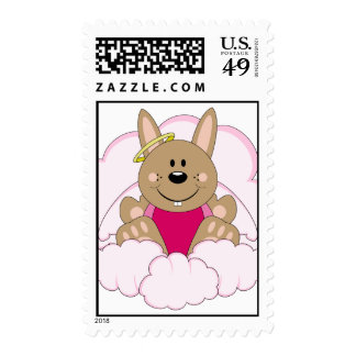 Cutelyn Brown Baby Girl Angel Bunny On Clouds Postage