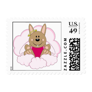 Cutelyn Brown Baby Girl Angel Bunny On Clouds Stamp