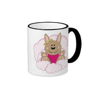 Cutelyn Brown Baby Girl Angel Bunny On Clouds Ringer Mug