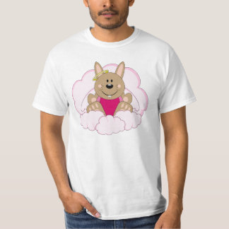 Cutelyn Brown Baby Girl Angel Bunny On Clouds T-Shirt
