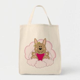 Cutelyn Brown Baby Girl Angel Bunny On Clouds Tote Bag