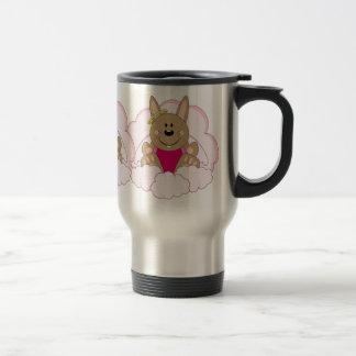 Cutelyn Brown Baby Girl Angel Bunny On Clouds Travel Mug