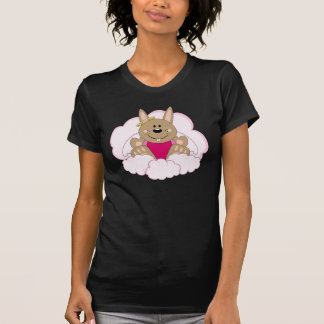 Cutelyn Brown Baby Girl Angel Bunny On Clouds Shirts