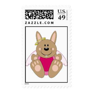 Cutelyn Brown Baby Girl Angel Bunny Stamp