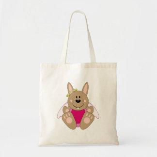 Cutelyn Brown Baby Girl Angel Bunny Tote Bag