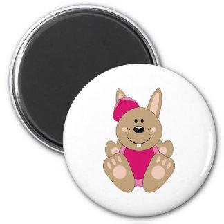 Cutelyn Brown Baby Girl Baseball Bunny 2 Inch Round Magnet