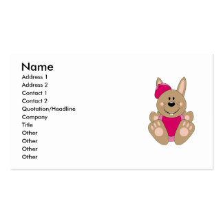 Cutelyn Brown Baby Girl Baseball Bunny Double-Sided Standard Business Cards (Pack Of 100)