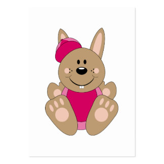 Cutelyn Brown Baby Girl Baseball Bunny Large Business Cards (Pack Of 100)