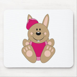 Cutelyn Brown Baby Girl Baseball Bunny Mouse Pads