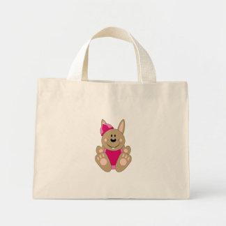 Cutelyn Brown Baby Girl Snow Bunny Tote Bags