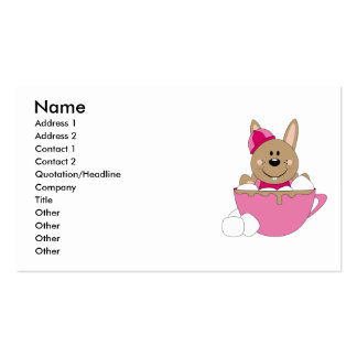 Cutelyn Brown Baby Girl Snow Bunny Mug Double-Sided Standard Business Cards (Pack Of 100)
