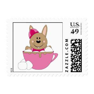 Cutelyn Brown Baby Girl Snow Bunny Mug Stamp