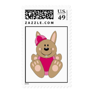 Cutelyn Brown Baby Girl Snow Bunny Stamps