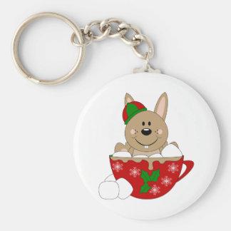 Cutelyn Brown Christmas Mug Bunny Key Chain
