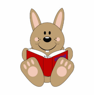 Cutelyn Brown Reading Bunny Acrylic Cut Outs