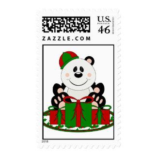Cutelyn Christmas Present Panda Bear Postage Stamp