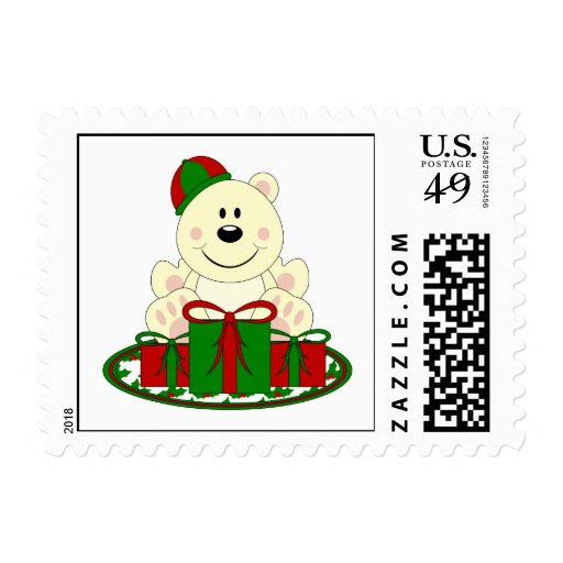 Cutelyn Christmas Present Polar Bear Stamp
