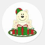 Cutelyn Christmas Present Polar Bear Round Stickers