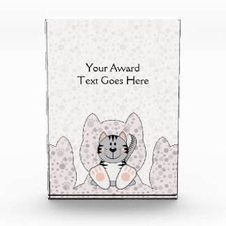 Cutelyn Gray Striped Cat Acrylic Award