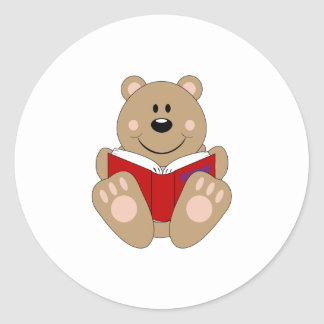 Cutelyn Reading Bear Classic Round Sticker