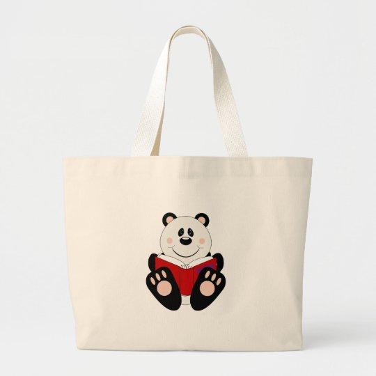 Cutelyn Reading Panda Bear Large Tote Bag