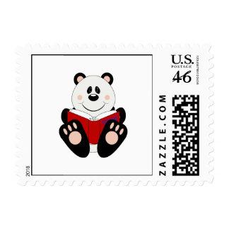 Cutelyn Reading Panda Bear Postage Stamp