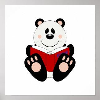 Cutelyn Reading Panda Bear Poster