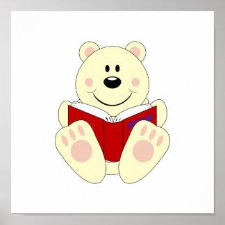 Cutelyn Reading Polar Bear Poster