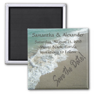 CuteNComfy Sand Writing on Beach, Save the Date Magnet