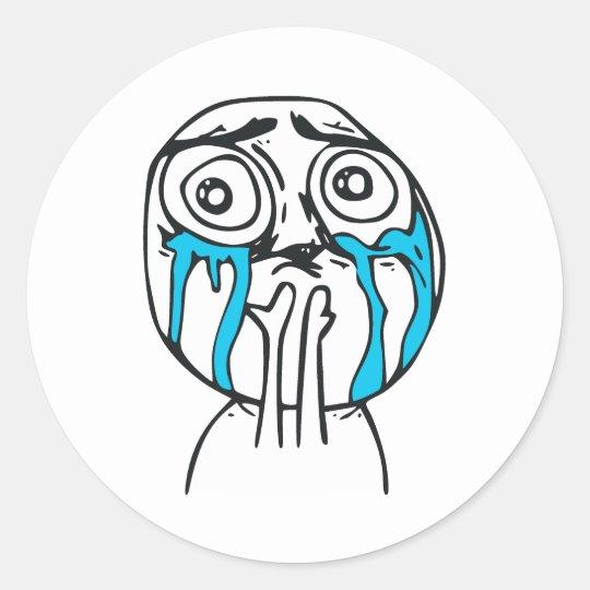 Cuteness Overload Cute Rage Face Meme Classic Round Sticker