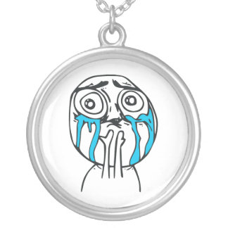 Cuteness Overload Cute Rage Face Meme Silver Plated Necklace