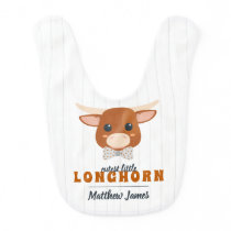Cutest Baby Boy Longhorn Burnt Orange Baby Bib
