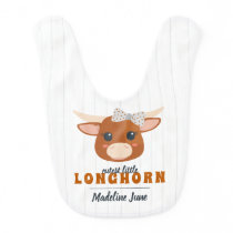 Cutest Baby Girl Longhorn Burnt Orange Baby Bib