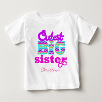 Cutest Big Sister Custom Name - Baby T-Shirt