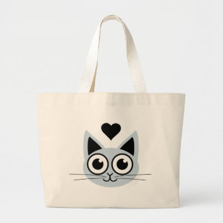 Cutest Blue Cat Large Tote Bag